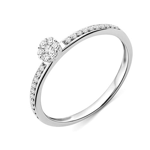 Miore Ring Damen Diamant Verlobungsring Weißgold 9 Karat / 375 Gold Diamanten Brillanten 0.15 Ct, Schmuck