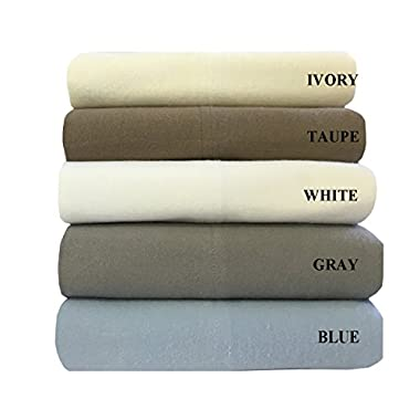 Royal's Heavy Soft 100% Cotton Flannel Sheets, 4pc Bed Sheet Set, Deep Pocket, Thick, Heavy and Ultra soft Cotton Flannel, Gray, King