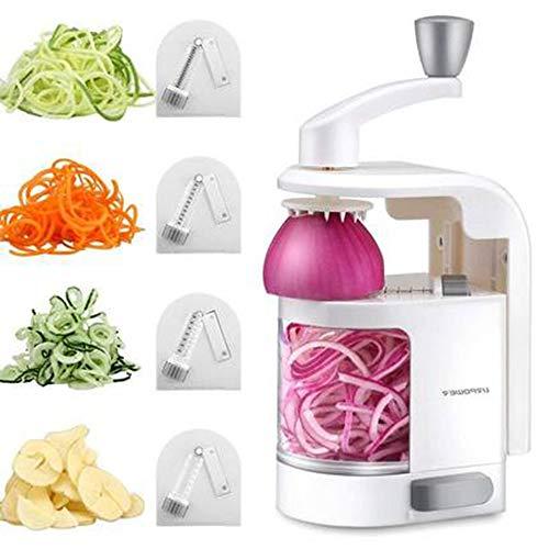 HJRD Gemüsehobel, Multifunktional Handkurbel Küchenreiben Spirale Gemüseschneider mit 4 Reibeeinsätz, Küchenmaschine, Salatzubereiter, Zerkleinerer für Rettich