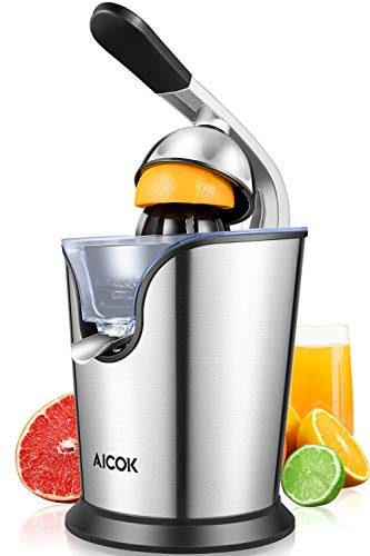 Aicok Electric Citrus Orange Juicer 160W Stainless Steel, Double Reamers, Soft Grip Handle, Easy to Use and Clean, Anti-Drip Spout