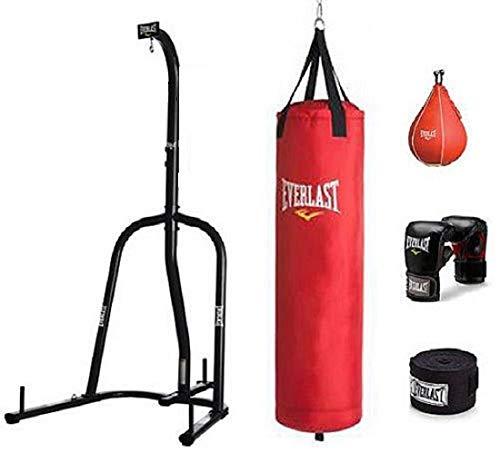 Everlast sola estación pesados bolsa soporte con Everlast 70LB rojo polycanvas pesada bolsa Kit Bundle