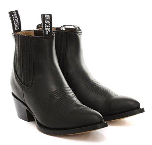 Grinders Mens New Maverick Schwarz Echtes Leder Ankle Boot Western-Cowboy- Stiefel (UK 9 / EU 43)