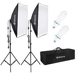 GEEKOTO Softbox Set Fotostudio 50 x 70cm, Dauerlicht Studioleuchte Set mit 2 Softboxlampen E27 85W 5500K, 2m Vollverstellbare Lichtstative für Studio-Porträts, Produktfotografie, Modefotos, usw.