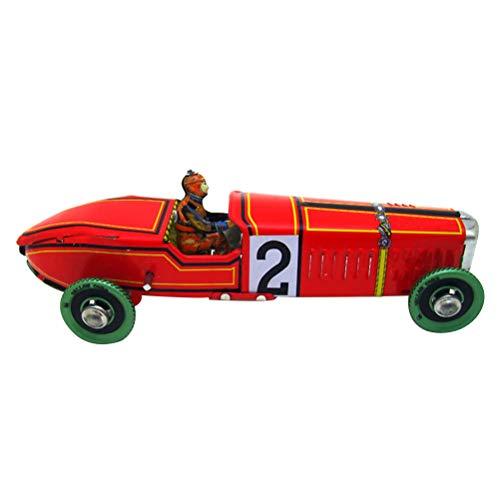 VOSAREA Vintage Racing Auto Modell Retro Wind Up Uhrwerk Zinn Spielzeug Sammler Geschenk für Home Store Ornament (rot)