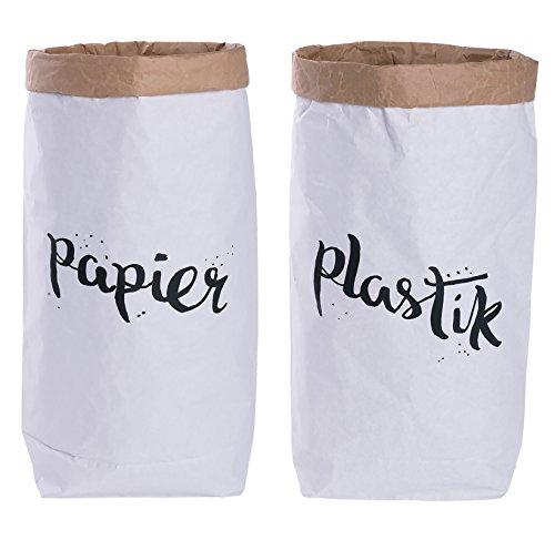 Lifestyle Lover 2er Pack Papiersack rund Paper Bag Kraftpapier Beutel Mülleimer Braun Weiß \'Papier & Plastik\'