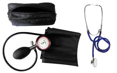 Blutdruckmessgerät Oberarm 1-Schlauch + Stethoskop Doppelkopf Blau Doppelkopfstethoskop 1 Stück (= 1 Set - 2 Artikel) - Stetoskop plus RR-Gerät zertifizierte Klinikqualität