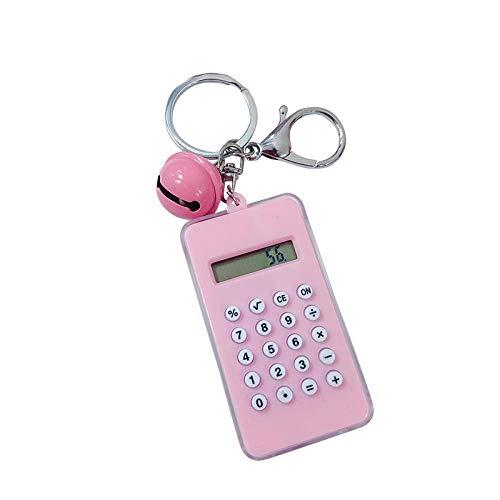 Sinzong Sleutelhanger voor dames, leuke cartoon-rekenmachine, sleutelhanger, 2 stuks roze