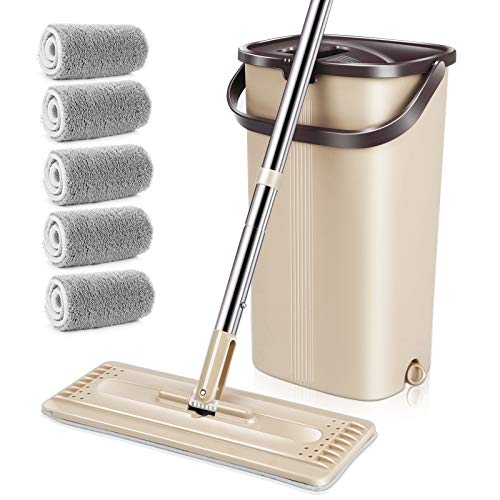 MASTERTOP Flat Mop and Bucket with Wringer Set, Microfiber Mop Floor Cleaning System, Wet Dry Mop, Stainless Steel Handle, 360° Flexible, 5 Pcs Dust Mop Replacement Pads for Home