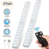 LUNSY Under Cabinet Lighting Rechargeable, 32LED Closet Lights with Remote, Wireless, 220lm, Stick Up Under Counter Shelf Light for Kitchen, Wardrobe - 2Pack(Silver)