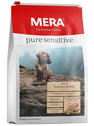 MERA pure sensitive Junior Truthahn und Reis Welpenfutter – Trockenfutter für die tägliche Ernährung nahrungssensibler Welpen