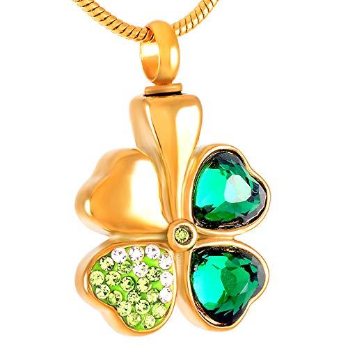 OPPJB Collar De Cenizasdiseño Elegante Collar De Acero Inoxidable Cristal Verde Trébol De Cuatro Hojas Colgante Collar De Cremación Mujeres Charm-B