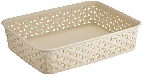 CURVER Panière de rangement A5 25 x 20 x 6 (h) cm en Plastique avec un Design Rotin Tressé pour Salle de Bain, Chambre, Bureau - Ivoire