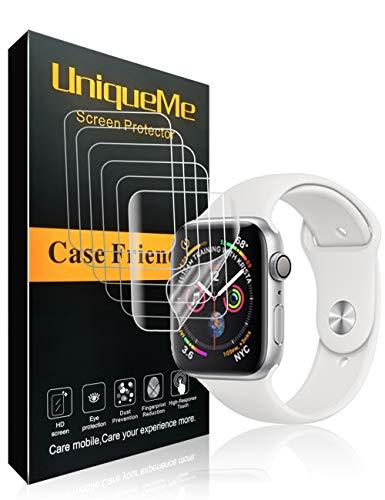 UniqueMe [6 Pack] Schutzfolie für Apple Watch Series 4/5 40 mm [Blasenfreie] HD Clear Flexible Folie mit Lebenslange ersatz garantie