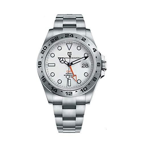 Pagani Design Automatico Hombre GMT Analógico Casual Deportivo Impermeable Relojes de Pulsera para Hombres con Acero Inoxidable Bracelet