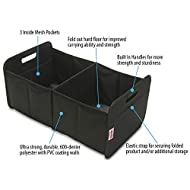 Premium Quality Car Trunk Organizer by CarryOn – Reinforced Sides, Sturdy Carrying Handles, Convenient Mesh Pockets, 35lbs Capacity, Folds for Easy Storage, Sturdy and Durable SUV Cargo Organizer.