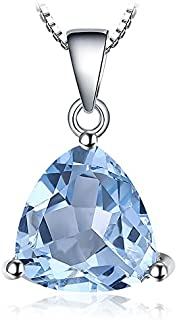 Colgante Oval Redondo Triángulo Pera Forma Natural Amatista Citrine Granate Peridoto Topacio Azul Piedra Preciosa Birthstone Collar Plata de ley 925 Cadena 45CM