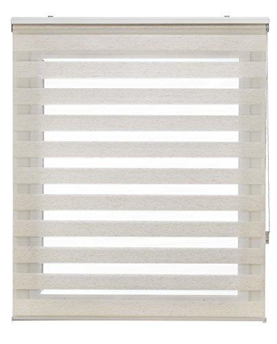 Blindecor LIRA - Estor enrollable de doble capa Noche y Día, Beige (Lino), 90 x 180 cm