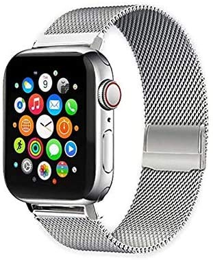 Hopesz Compatible with Apple Watch Band 38mm 40mm 42mm 44mm, Stainless Steel Mesh Loop Adjustable Metal Magnetic Strap for Series 6/5/4/3/2/1/SE