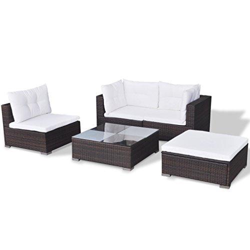 Festnight 14-TLG. Gartensofa Set mit 1 Teetisch Gartenlounge Garten Lounge-Set aus Polyrattan Loungegruppe für Terrasse Garten - Braun