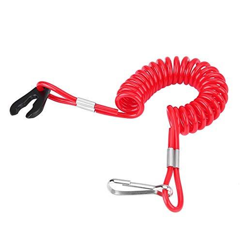 Qiilu Cordón para llave del interruptor de parada del motor, encendido del motor fueraborda Interruptor de parada de emergencia, cordón para llave, clip de cuerda para todas las series