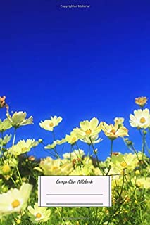 Composition Notebook: Lovely Yellow Cosmos Clear Blue Sky Flower Field Love Lined, Soft Cover, Letter Size