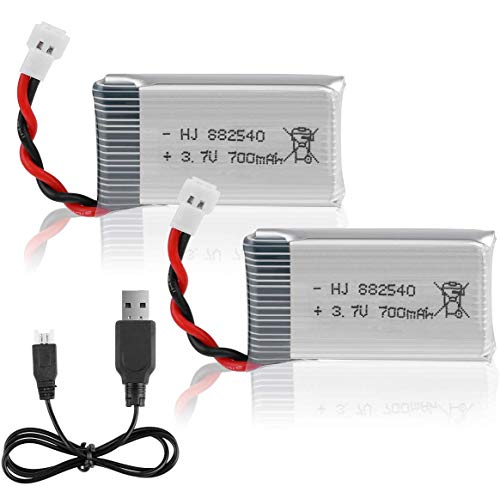 Hootracker Crazepony-UK 2PCS 3.7V 700mAh Lipo Battery with USB Charger for RC FPV Drone