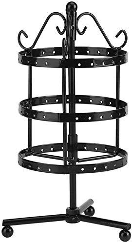 Soporte de pendiente de soporte de joyería giratoria, pendiente Organizador de pantalla Soporte de la joyería de metal para el soporte de la joyería con 3 niveles y 72 hoyos. Piedra de pie, soporte de