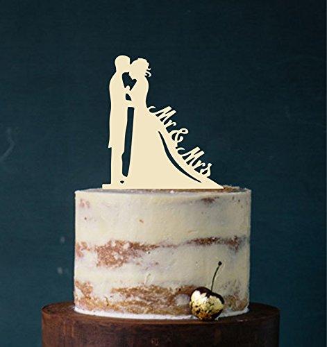 Cake Topper, MR & MRS, Elección de colores–Conector para tarta, Figura Decorativa para tarta acrílico, soporte para tarta Bodas de Etagere Tarta a macho beige