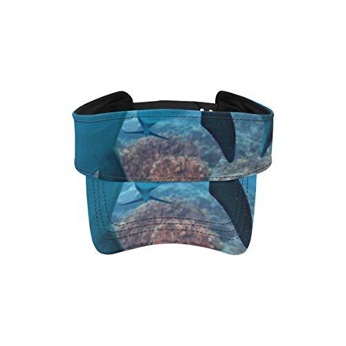 Zemivs Gorra con Visera para el Sol Dolphin Underwater On Reef Look Gorra con Visera para Mujeres Sombrero para el Sol Visera Ropa Deportiva Deportiva Ajustable Correr al Aire Libre Gorra para
