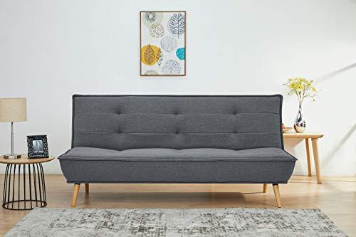 Amazon Marke - Movian Scutari - 3-Sitzer-Sofabett, 194 x 95 x 89, Dunkelgrau