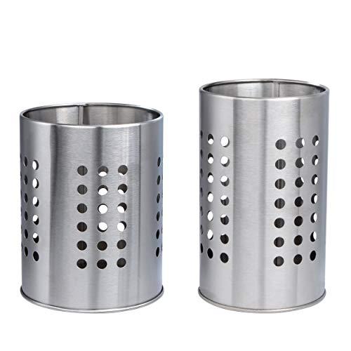 Soporte de Utensilios Cocina de Acero Inoxidable, 2 Piezas Porta-Utensilios de Cocina Resistente Titular de Vajilla Organizador de Cubiertos para Cajones y Encimeras