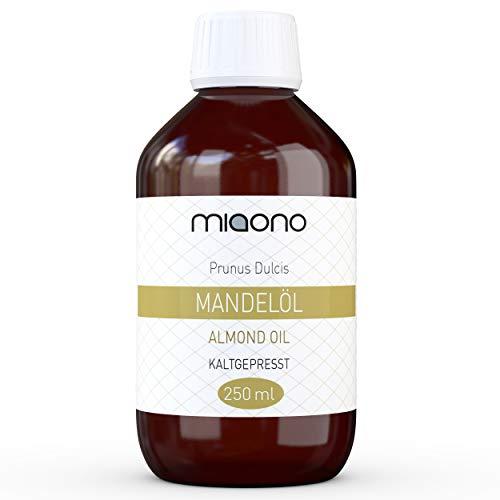 Mandelöl (250ml) - 100% reines kaltgepresstes Öl in einer Glasflache von miaono