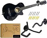 JJPRIME - Soporte 2x para montaje en pared Soporte horizontal para soporte de guitarra, Kit de soporte de exhibición de guitarra (negro)