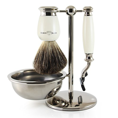 Edwin Jagger Shaving Gift Set, Creme/Off-White