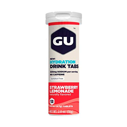 GU Energy Brew Electrolyte - Hydration Drink Tabs 1 tubo x 12 tabletas - Fresa-Limonada