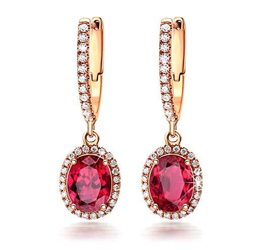 ANAZOZ 18K Oro Rosa Pendientes de Mujer Oro Rosa Pendientes de Mujer Oval Turmalina Roja Blanca 2ct