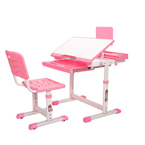 TOBBI Kids Desk and Chair Set, Height Adjustable, Ergonomic Student Workstation with Large Storage Book Stand and Pull-Out Drawer, Pink