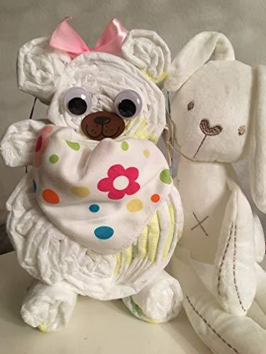 Windelgeschenk Mädchen Bär + Hase/Windeltorte Mädchen + Dreieckstuch + HASE -> Pampers Gr. 3 WEIHNACHTSGESCHENK Baby -> Geschenk zur Geburt (Hase rosa Gr. 2)