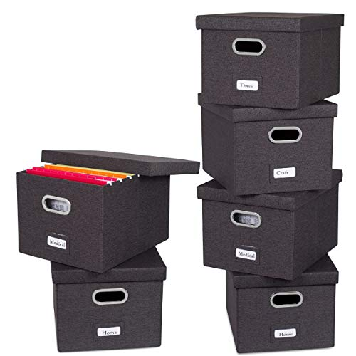 Internets Best Collapsible File Storage Organizer with Lid - Decorative Linen Filing Storage Office Box – Hanging LetterLegal Folder – Home Office Bins Cabinet – Charcoal Container - 6 Pack