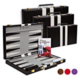Get The Games Out Top Backgammon Set - Classic Board Game Case - Best Strategy & Tip Guide - Available in Small, Medium and Large Sizes (Black, Large)
