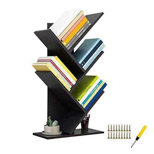 QUMENEY Estantería de árbol, torre de libros de madera, estantería de 5 estantes, soporte para libros, CDs, álbumes/archivos, estante de almacenamiento de exhibición para el hogar