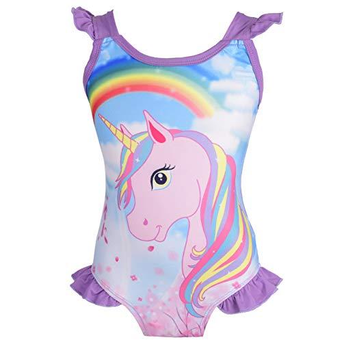 Lito Angels - Unicorno Costume da Bagno Intero per Bambine, Estate, Spiaggia, Piscina, Taglia 4-5 Anni, Viola, Stile D