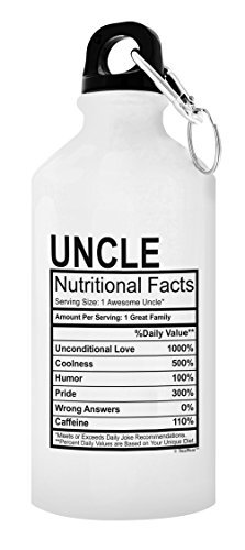 ThisWear Best Uncle Uncle Nutritional Facts Uncle Gifts New Uncle Gifts for Uncle Gift 20-oz Aluminum Water Bottle with Carabiner Clip Top White