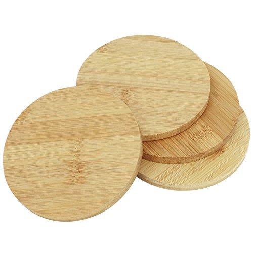 com-four® Sottobicchieri 4X in bambù - Sottobicchieri di Vetro Rotondi - Sottobicchieri per Bicchieri - Ø 11 cm, Rotondi, Spessore 0,9 cm (4 Pezzi)