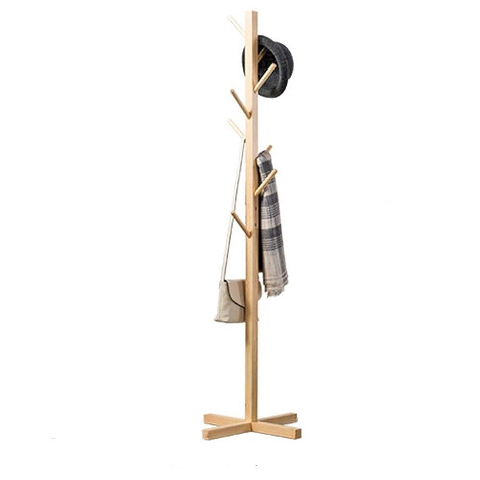 苦い試用和らげるホールコートラック 木製ツリーコートラックスタンド、8フック無料立ちコートスタンド、廊下コートハンガー帽子スタンド、4コーナーシャーシ 本社廊下用 (色 : カーキ, サイズ : 50 x 50 x 165cm)