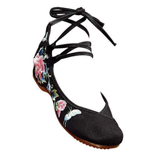 SONSYON Alte Peking Schuhe - Retro Schnürschuhe Folk-Gewohnheit Bestickte Schuhe für Frauen,Schwarz,CN40(Fußlänge:250mm)