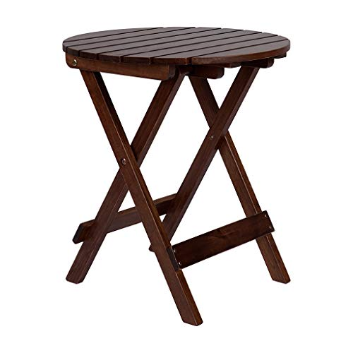 Round17 Side Table Folding End Table Wood Outdoor Patio Courtyard Bistro Coffee Table (Brown)