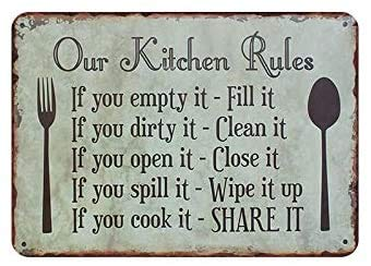 YYone our Kitchen Rules - Cartel de metal vintage para decoración de pared, diseño de pub, club, cafetería, bar, decoración para el hogar, 20,3 x 30,5 cm