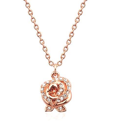 Disney Couture Kingdom - Collar con Colgante de Rosa de Cristal Chapado en Oro Rosa con la Bella y la Bestia