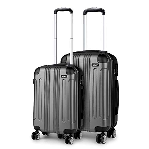 Kono Set of 2 Lightweight ABS Hard Shell Suitcase 20' Carry-on Hand Cabin Suitcase + 24' Check in Luggage with 4 Spinner Wheels (Grey)